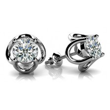 Tulip Flower Shape Solitaire Diamond Earring Studs In 4 Prong set Round Brilliant Diamonds.